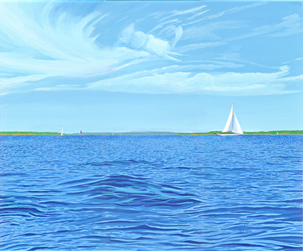 Buzzards Bay view to Quicks Hole, acrylic on canvas