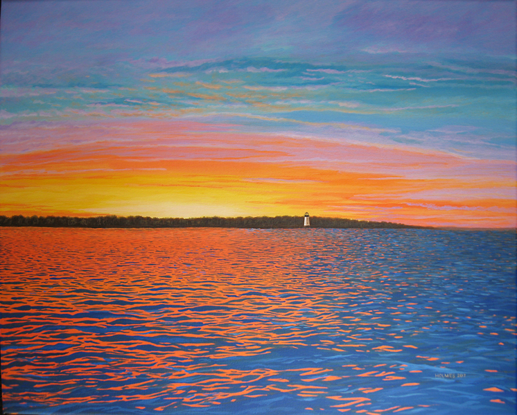 Edgartown Sunset, acrylic on canvas