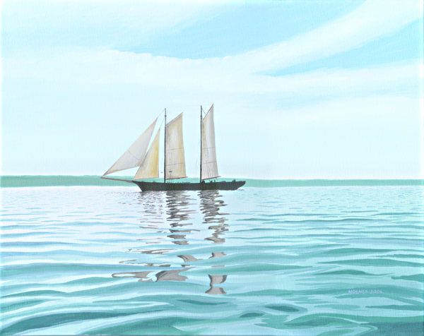 Ship Becalmed, acrylic on canvas