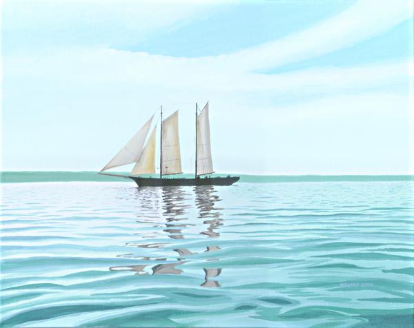 Ship Becalmed, acrylic on canvas