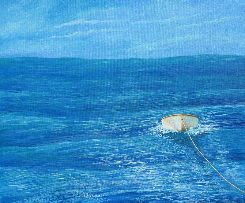 Towing Dinghy, acrylic on canvas